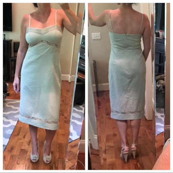 detailed look custom great look J crew tan tea length sundress size 10